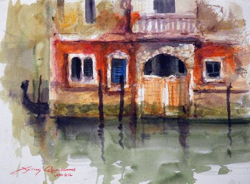 Venice, Italy  Reflection Watercolor 2012 Watercolor - James Coleman