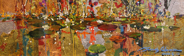Gold And Lilies 8x24