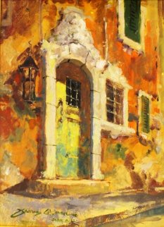 Weathered Door 19x15 Original Painting - James Coleman