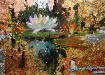 Lily Reflections 2011 12x16 Original Painting - James Coleman