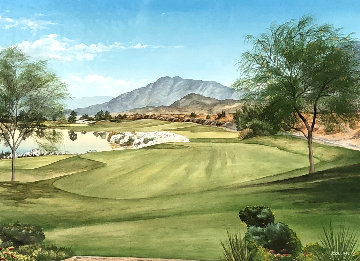 Untitled Desert Golf Landscape 23x28 Original Painting - Jacob Collins