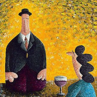 I'd Like to Propose a Toast 2009 30x30 Original Painting -  Coplu