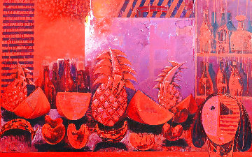Bodegon With Fruit 2000 62x59 Original Painting - Vladimir Cora