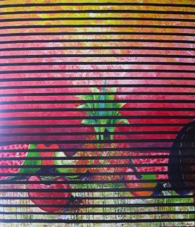 Pineapple Fruit Acrylic with Linen 1992 47x43 Original Painting - Vladimir Cora