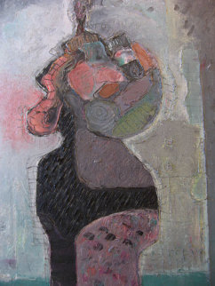 Woman of the Street 1988 34x23 Original Painting - Vladimir Cora
