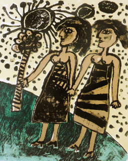 Les Deux Soeurs the Two Sisters 1969 Limited Edition Print - Guillaume Corneille