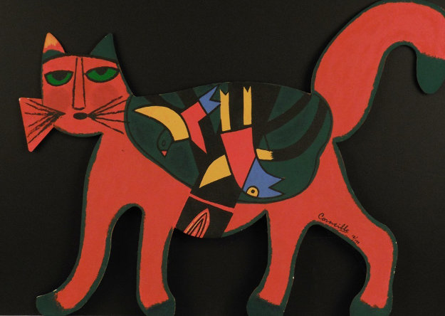Chat Geomotrique Rouge Et Vert Metal Sculpture 28 in