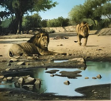 Lion Kill At Shitake Springs 30x32 Original Painting - Craig Bone