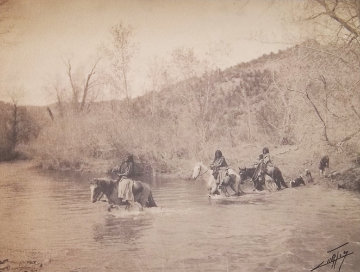 River Crossing 1903 Photography - Edward S. Curtis