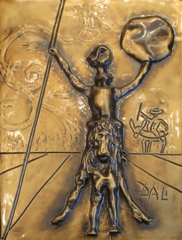 Don Quixote, Bronze Bas Relief Sculpture 1979 26 in