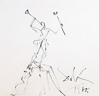 Study For the Sculpture Mercurio Drawing 1975 21x16 Works on Paper (not prints) - Salvador Dali