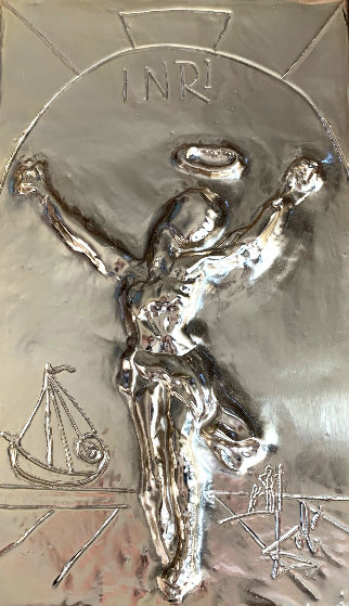 Christ of St. John on the Cross Gold  bas Relief Bronze Sculpture HC 1974  by Salvador Dali