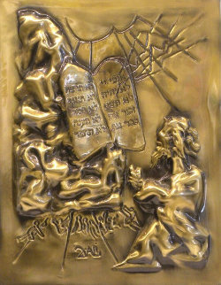 Ten Commandments Gold Bas Relief Sculpture 1979 25 in Sculpture - Salvador Dali