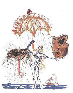 Objects and Imaginations Suite - Anti-Umbrella with Atomized Liquids 1975 Limited Edition Print - Salvador Dali