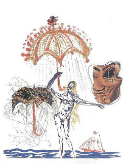 Objects and Imaginations Suite - Anti-Umbrella with Atomized Liquid 1975 Limited Edition Print - Salvador Dali