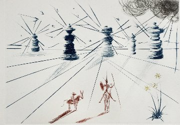 Don Quichotte Et Les Moulins a Vente 1969 Limited Edition Print - Salvador Dali