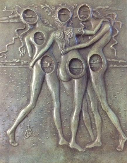 Three Graces Bas Relief Bronze Sculpture 1977