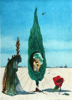 Enigma of the Rose (Death) From Visions Surrealiste 1976 Limited Edition Print - Salvador Dali