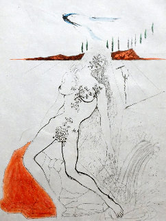 Poems Secrets Nude At the Fountain 1967  Limited Edition Print - Salvador Dali