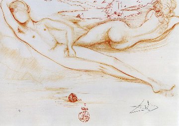 From Nudes, A La Plage 1970 Limited Edition Print - Salvador Dali