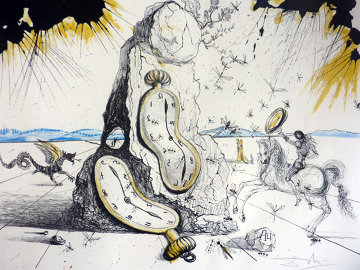 Cosmic Rays Resuscitating Soft Watches 1965  (Early, Fabulous and Rare)  Limited Edition Print - Salvador Dali