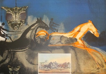 American Trotting Horses No. 2  (Currier And Ives) 1971 Limited Edition Print - Salvador Dali