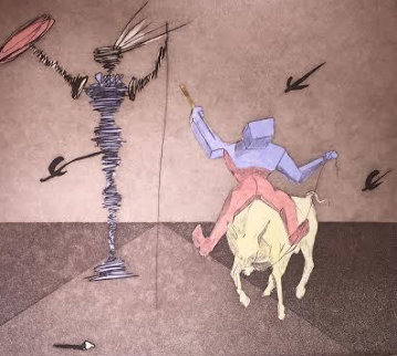 Master And Squire From Histria De Don Quichotte De La Mancha Portfolio AP 1980 Limited Edition Print - Salvador Dali