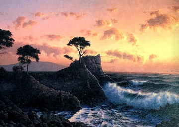 Lone Cypress At Sunset 1984 31x41 Original Painting - David Dalton