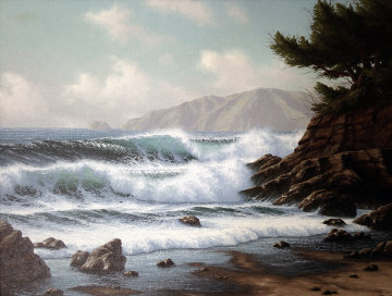 Incoming Tide, Near Monterey, California 1981 31x37 Original Painting - David Dalton