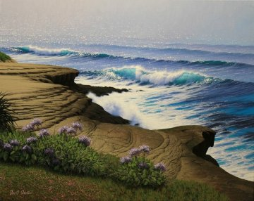 Lifting Fog - La Jolla Cliffs 24x30 San Diego Original Painting - David Dalton