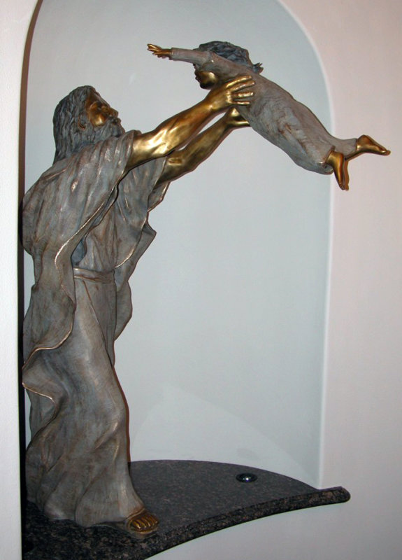 Except Ye Become As - Christ And Child Life Size Bronze Sculpture 2002 77 in