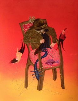 Histoire De Chaise I  2014 59x44 Original Painting - David Farsi