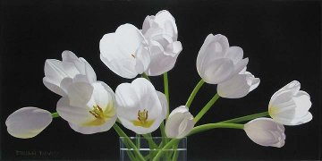 Twelve Tulips 2009 20x40 Original Painting - Brian Davis