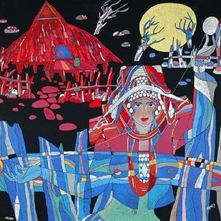 Lady With Thread And Mountain Spirit Suite of 2 Serigraphs 1989 Limited Edition Print - He Deguang