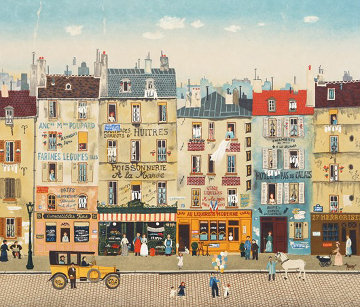 Paris Steet Scene 1983 Limited Edition Print - Michel Delacroix
