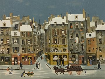 French Winter City Scene Limited Edition Print - Michel Delacroix