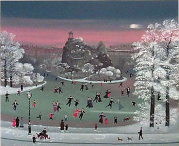 Patinage Dans Le Parc 1990 Limited Edition Print - Michel Delacroix