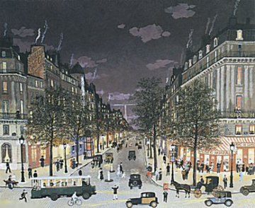 Les Grands Boulevards La Nuit, Paris 2001 Limited Edition Print - Michel Delacroix