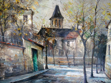 Paris Church 26x29 Original Painting - Lucien DeLaRue