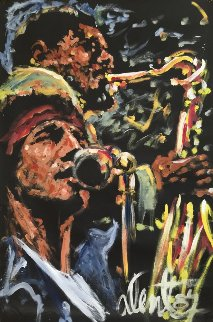 Bruce Springsteen With Clarence Clemons 1987 82x53 Original Painting - Denny Dent