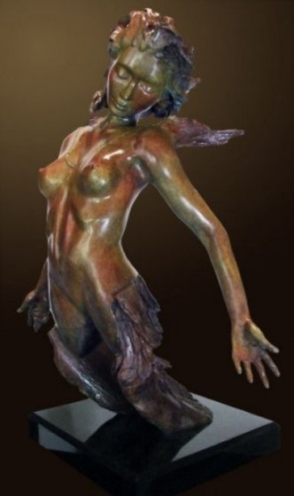 Devenir Bronze Sculpture, With Limited Edition Sketch on Paper 2011 32 in