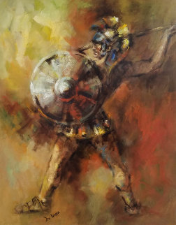 Spear Thrower 36x42 Original Painting - Lisette De Winne