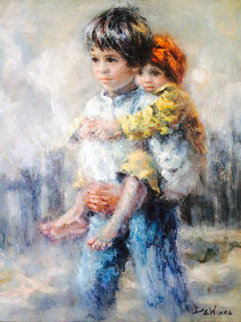 Untitled Children 1990 Original Painting - Lisette De Winne