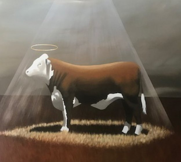 Holy Cow 58x58 Original Painting by Robert Deyber
