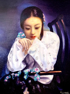 Untitled Portrait of a Girl 51x43 Original Painting - Di Li Feng