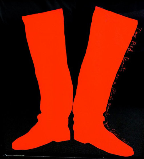 Two Red Boots on a Black  Background Poster 1965