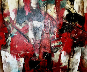 Abstract Red 2011 47x55 Original Painting - Rolando Lopez Dirube