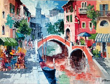 Venice, Flowers By the Canal  Limited Edition Print - Antonio Di Viccaro