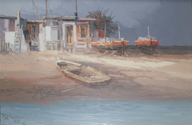 Beach with Boats and Houses 1983 19x27