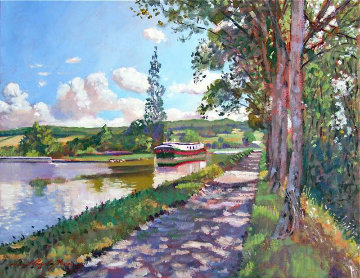 Bourgogne Canal 2005 26x30 Original Painting - David Lloyd Glover